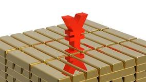 Yen on gold Stock Photo