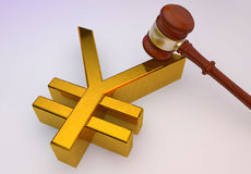 Yen golden sign. 3d yen golden sign with wooden Law gavel Royalty Free Stock Photography
