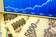 Yen and Graph Royalty Free Stock Image