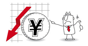 Yen is growing down. Fluctuation of the Yen in the down Stock Images