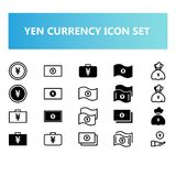 Yen Japan currency icon set in solid and outline style stock illustration
