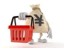 Yen money bag character holding empty shopping basket royalty free stock photography