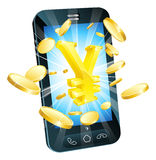 Yen money phone concept. Illustration of mobile cell phone with gold yen sign and coins Royalty Free Stock Photo