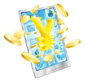 Yen money phone concept. Illustration of mobile cell phone with gold yen sign and coins Stock Image