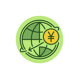 Yen money transfer flat icon Royalty Free Stock Image