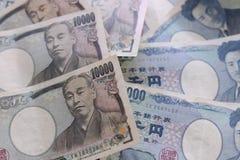 Yen notes  money concept background Closeup of Japanese currency. Yen bank Stock Photos