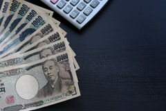 Yen notes  money concept background Closeup of Japanese currency Stock Images