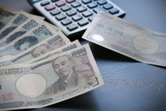 Yen notes  money concept background Closeup of Japanese currency. Yen bank Royalty Free Stock Images