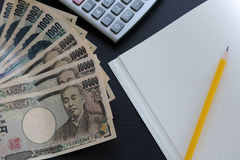 Yen notes  money concept background Closeup of Japanese currency Royalty Free Stock Photos