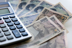 Yen notes  money concept background Closeup of Japanese currency Stock Photography