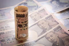 Yen notes  money concept background Closeup of Japanese currency. Yen bank Royalty Free Stock Photo