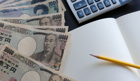 Yen notes  money concept background Closeup of Japanese currency Royalty Free Stock Photo