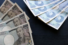 Yen notes  money concept background Closeup of Japanese currency. Yen bank Stock Images