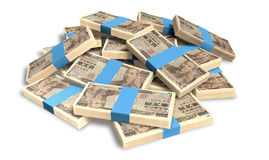 Yen Notes Scattered Pile. A pile of randomly scattered wads of japanese yen banknotes on an isolated background Royalty Free Stock Photos