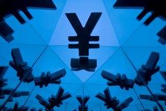 Yen o immagini rispecchiantesi di Yuan Currency Symbol With Many fotografia stock libera da diritti