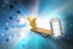 Yen and oil can balancing Royalty Free Stock Image