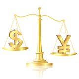 Yen outweighs Dollar on scales. Stock Photo