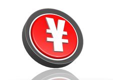Yen round icon in red Royalty Free Stock Photo