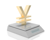 Yen's weigh. Golden yen symbol measured its weigh on digital scale stock illustration