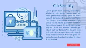 Yen Security Conceptual Banner. Great flat illustration concept icon and use for currencies, payment, business and much more Royalty Free Stock Photography