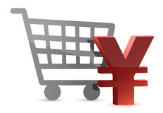 Yen and shopping card Stock Photography