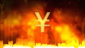 Yen sign against fiery background, gold and currency reserves, financial market. Stock footage Stock Photography