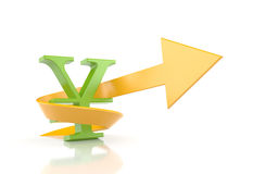 Yen sign with arrow. Symbolize growth Stock Image