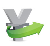 Yen sign with arrow. Symbolize growth. Stock Photography