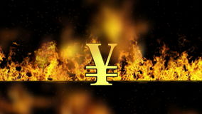 Yen Sign Burning Hot Word in Brand royalty-vrije illustratie