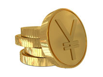 Yen sign in golden coin Stock Photo