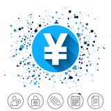 Yen sign icon. JPY currency symbol. Button on circles background. Yen sign icon. JPY currency symbol. Money label. Calendar line icon. And more line signs Royalty Free Stock Image