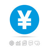 Yen sign icon. JPY currency symbol. Money label. Copy files, chat speech bubble and chart web icons. Vector Stock Images