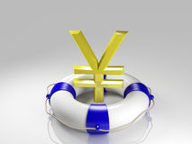 Yen sign in the lifebuoy Stock Image