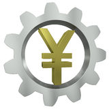 The Yen sign in a metal gear Royalty Free Stock Photo