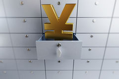 Yen sign opened empty bank deposit cell Stock Images