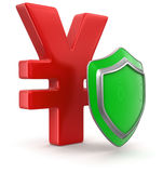 Yen Sign and Shield (clipping path included) Royalty Free Stock Photos
