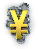 Yen sign on top of cogs Stock Photography