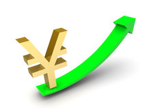 Yen Sign Up Arrow Stock Images