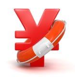 Yen Sign y salvavidas (trayectoria de recortes incluida) Foto de archivo libre de regalías