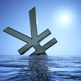 Yen Sinking In The Sea. Showing Depression Recession And Economic Downturns vector illustration