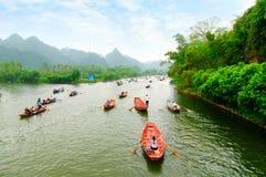 Yen stream on the way to Huong pagoda in autumn, Hanoi, Vietnam. Vietnam landscapes. Royalty Free Stock Image