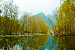 Yen stream on the way to Huong pagoda in autumn, Hanoi, Vietnam. Vietnam landscapes. Royalty Free Stock Photos