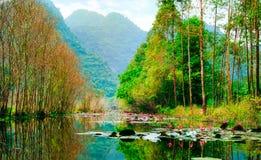 Yen stream on the way to Huong pagoda in autumn, Hanoi, Vietnam. Vietnam landscapes. Stock Photo