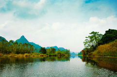 Yen stream on the way to Huong pagoda in autumn, Hanoi, Vietnam. Vietnam landscapes. Royalty Free Stock Images