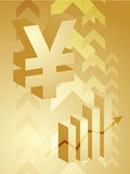 Yen success illustration. Abstract financial success illustration with Yen currency Stock Photo