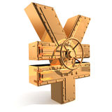 Yen symbol. Synthesis from  yen symbol and  banking safe Stock Images