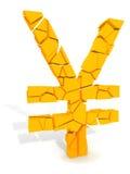 Yen symbol beaking apart Royalty Free Stock Image