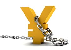 Yen symbol chained Royalty Free Stock Images