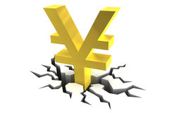 Yen Symbol on Cracked Ground Royalty Free Stock Photo