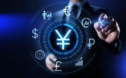YEN-Symbol Devisenhandelsgeldumtauschgeschäfts-Finanzkonzept stockbild